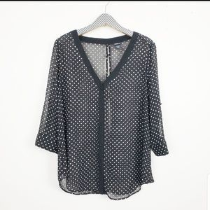 Torrid Sheer Polka dot V-neck button up top